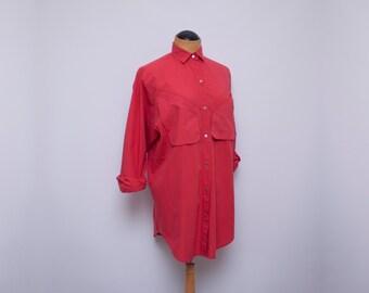 SALE // long red cotton shirt - Tai Chi