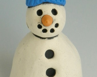 HANDMADE CLAY SNOWMAN, Snowman, Winter decor, Snowman with Bright Blue Hat, Blue and white, Snow, Winter, Christmas Decor