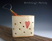 Pottery Sponge Holder Rustic White with Red Heart - Pencil Holder - Toothbrush Holder - by DirtKicker Pottery