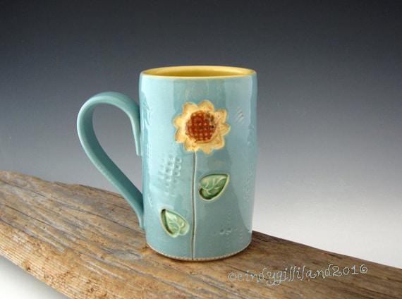 Sunflower Mug in Tuquoise and Yellow - Pottery Mug - Coffee Mug - by DirtKicker Pottery
