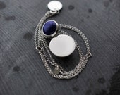 Lapis Lazuli silver pendant in solid silver ball necklace