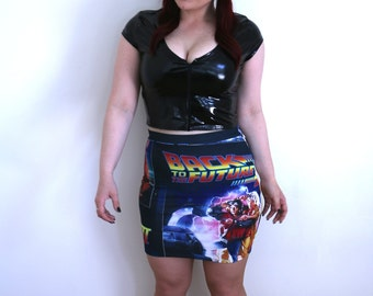 Back to the Future Bodycon Skirt ~ Handmade, Dr. Brown, Marty McFly, 80s, Delorean, Great Scott!