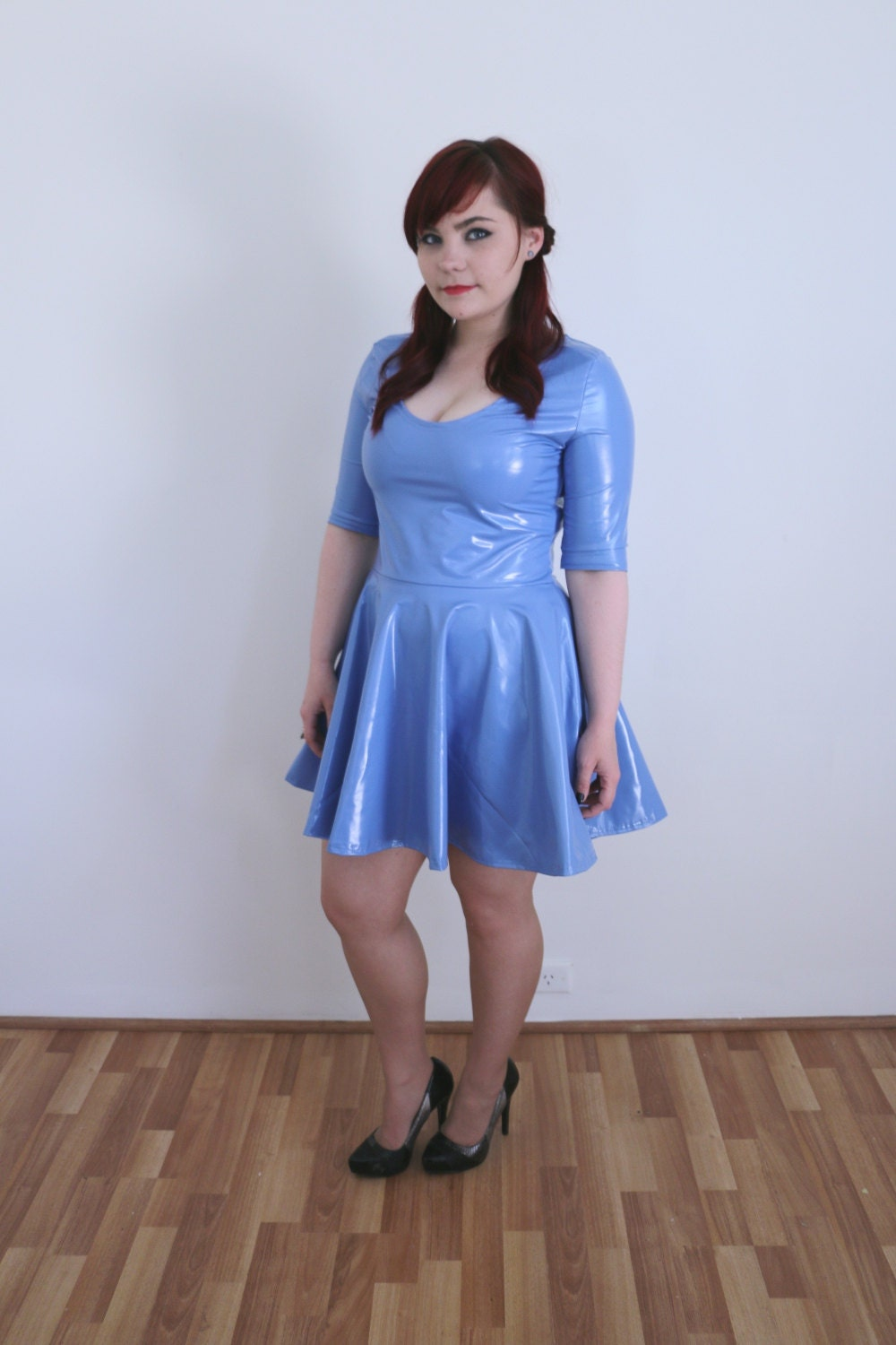 Blue Vinyl Skater Dress Pvc Handmade Circle Skirt