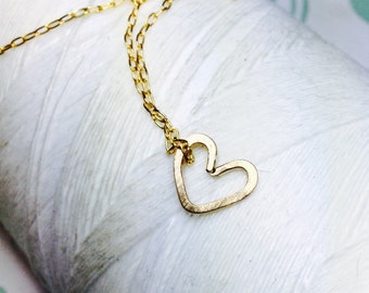 Forged Vermeil 14k Gold - TIny Heart necklace / gold heart necklace/ 14k gold necklace  / heart charm / heart necklace / delicate necklace