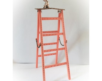 Vintage Coral Pink Kitty Cat Earrings Ladder Holder Jewelry Organizer