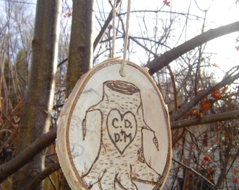 Personalized Ornament-Couples Tree Slice Ornament-Wood Burned Rustic Custom Ornament