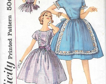 """Simplicitiy 3831 UNCUT 1960s """"Simple to Make"""" Bateau Neck Dress with Faux Apron Skirt Vintage Sewing Pattern Miss 10,12 or 14"""