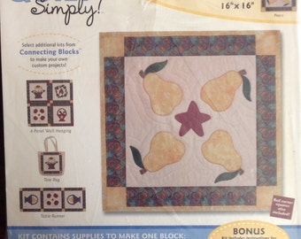 """Quilt Simply Connecting Blocks Kit 16"""" x 16"""" - Seasonal Collection Pears"""