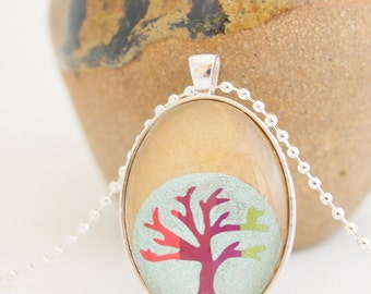 tree of life pendant, bodhi tree of life necklace, silver glitter, rainbow tree, upcycled kraft paper jewelry