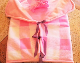 Bring Your Baby Girl Home in This Darling Pink Flannel Bunting Quilt & Matching Hat Purple Ribbon with Tie Closures