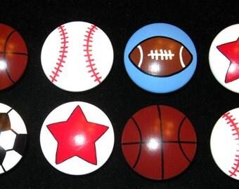 "Set of 8 Knobs - SPORTS BALLS + STARS - 1 1/2"" knobs -- Football, Basketball, Baseball, Soccer Ball, Red Stars - Hand Painted  Wooden Knobs"