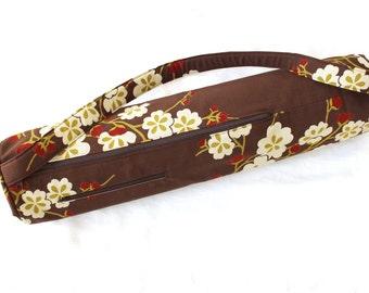 Handmade Yoga mat bag with zipper closure - yoga mat carrier with padded strap - yoga mat tote with zipper pocket - womens yoga bag