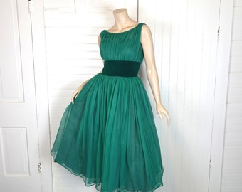 Jade Green Party Dress- 50s / 60s Netting & Velvet- 1950s Prom / Formal- Small