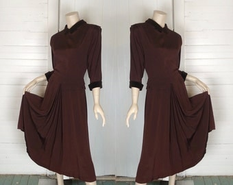 40s Pin Up Dress in Chocolate Brown- 1940s Bombshell- Velvet Trim- Small
