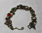 Vintage 1950s Slider Charm Bracelet, Could Be Goldette, 8 Charms in All
