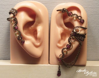 golden age EAR WRAP & cartilage ear cuff SET - wire wrapped, garnet earcuff, adjustable earwrap, no piercing ear cuff, elegant jewelry