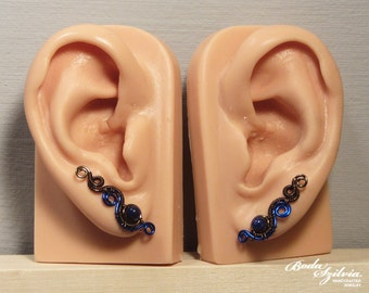 LAPIS lazuli EAR PINS - bronze earrings, elegant jewelry, ear crawler, ear sweep, stone jewelry, post earrings, no piercing earrings clip on