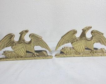 Brass Bookends Spread Eagle Liberty Shield 1952