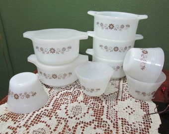 Milk Glass Dynaware 5 Covered Bowls and 4 Custard Cups Termocrisa Woodland
