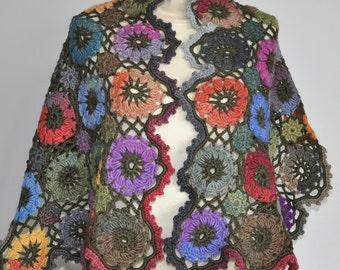 Happy Days - Crochet Multicolor Granny Square Shawl/Wrap/Skirt