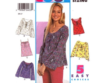 Empire Camisole or Top Pattern New Look 6045 Boho Hippie Keyhole Top Gathered Bell Lantern Sleeve Junior Sewing Pattern Size 3 to 14 UNCUT