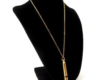 Vintage Gold tone Long Tube Metal Whistle Pendant Necklace