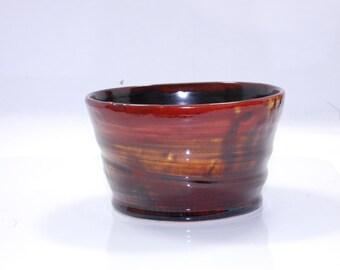 Tea Bowl, Charity, Chawan, Handleless Mug, Red and Amber Three cups of Tea Charity