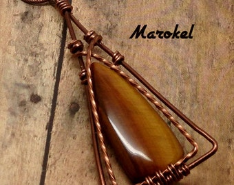 Tiger Eye Crossover Necklace Copper Wire Twisted Wire Triangle Minimalist Delicate