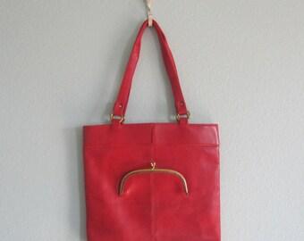 Adorable 60s Red Vinyl Shoulder Bag with Attached Coin Purse - Vintage Naturalizer Red Handbag - Vintage 1960s Handbag