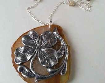 Sterling Clover Agate Slab Silver Necklace