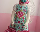 Kids Apron - Kids Ruffle Apron - Pink & Teal Cupcakes