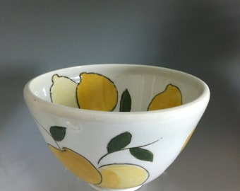 Lemon Bowls, Hand Painted, Sgrafitto Decorated