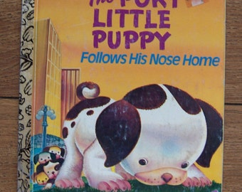 vintage 80s little golden book POKY LITTLE PUPPY Follows His Nose Home children picture book