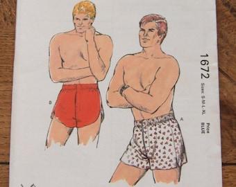 vintage 80s  kwik sew pattern 1672 men boxer shorts sz  S-M-L-XL uncut mens underwear