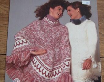 Vintage WHITE BUFFALO  6401 knitting pattern poncho women