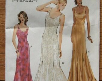 2003 vogue pattern 7824 misses evening special occasion dress sz 12-14-16 uncut 2 lengths