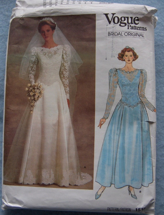 Vintage 80s pattern Vogue pattern 1519 BRIDAL WEDDING GOWN with or without Train sz 10 uncut