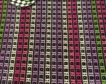 Black Afghan - Knitted Throw - Black Pink Purple Green - Raspberry Lilac Lime - Boho Decor - Collected Afghan Throw - Bold Colorful 47 x 68