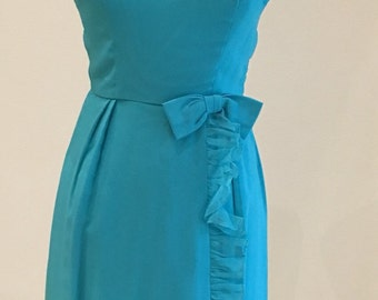 1960s Vintage Dress - Semi Formal - Aqua Blue - Turquoise Chiffon Wrap Dress - Spring Summer Wedding - Bridesmaid - Party Dress - 34 Bust