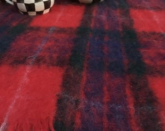 "Vintage Plaid Blanket - Mohair and Wool Blend - Stadium Blanket - Cabin Style - Woodlands - Scotland - Red Blue Green Plaid - 48"" x 74"""