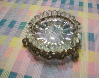 Mementos Glass Daisy Ashtray/ Trinket Dish with Metal Base and Glass Toes