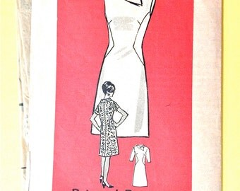 Anne Adams 4518 60s A-Line Dress Sleeveless or Sleeves  Side Seam Interest Panel Color Block Unique Collar  Bust 32 Vintage Sewing Pattern