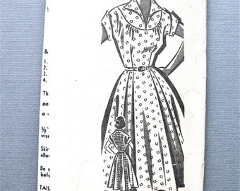 Sew-Rite 8092 Mail Order Early 1950s Misses' Dress Vintage Sewing Pattern  Bust 32