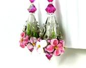 Pink Gray Floral Earrings, Pastel Botanical Earrings, Spring Jewelry, Flower Earrings, Floral Jewelry, Lampwork Glass Earrings, Romantic