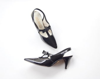 CHARM STEP 1960s Witchy Black Pointy Heels 6N