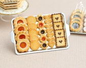 MTO-Chocolate, Jam and Plain Butter Cookies on Metal Baking Sheet - Five Varieties - Miniature Food in 12th Scale for Dollhouse