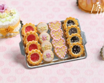 Assorted Butter Cookies on Metal Baking Sheet (Jam, blossoms, hearts, chocolate) - Miniature Food in 12th Scale for Dollhouse