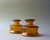 2 Vintage Mid Century Dansk Amber Glass Candle Holders / Mini Vases / Inkwell Design