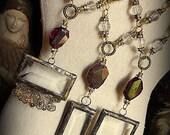 ORIGINAL Soldered Filigree Glass Bevel© and Garnet Necklace