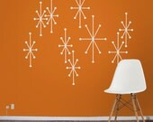 atomic starbursts vinyl wall decals mid century modern retro, wall sticker art